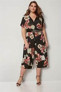 Bon Price Mode : yours london combinaison jupe culotte noire fleurs grande taille 44 60 ~ Eleganceandgraceweddings.com Haus und Dekorationen