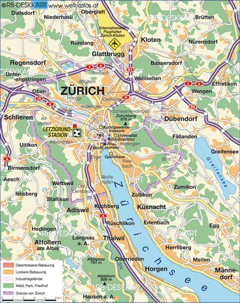 map  zurich city  switzerland welt atlasde