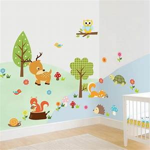 Cute animals wall sticker zoo tiger owl turtle tree forest