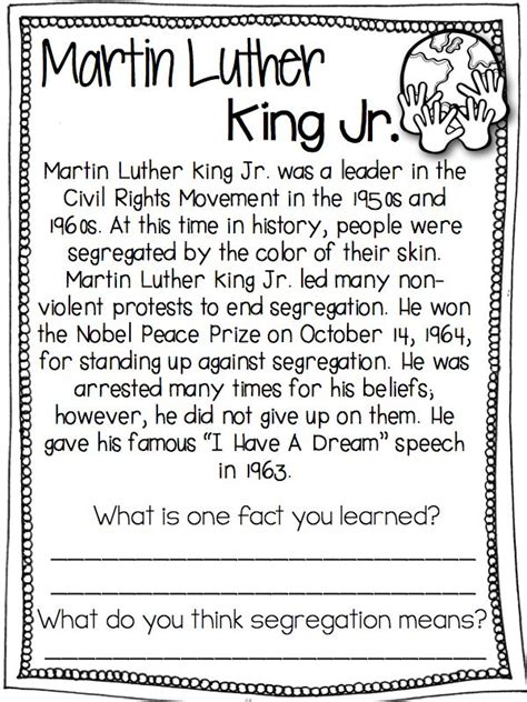 martin luther king worksheets free worksheets library