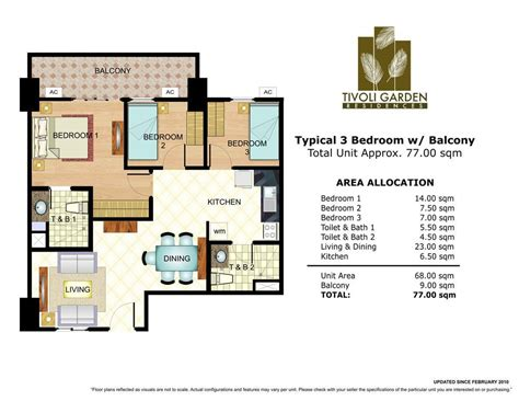 1 Bedroom Unit Layout by 3 Bedroom Unit Layout 77 Sq Meters Tivoli Garden