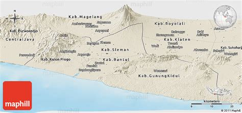 shaded relief panoramic map  yogyakarta