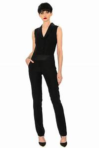 Combinaison Pantalon Femme Habillée : combinaison smoking cr pe satin stefanie renoma ~ Carolinahurricanesstore.com Idées de Décoration