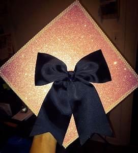 My graduation cap w/ black bow, pink glitter paper & pearl ...