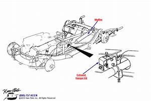 1960 Corvette Round Muffler  U0026 Hangers Parts