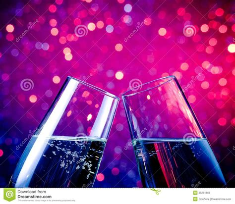 Light Pink Curtain by Champagne Flutes With Gold Bubbles On Blue Tint Light
