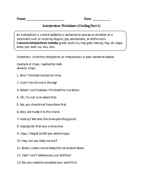 image result  worksheet  interjections  answers