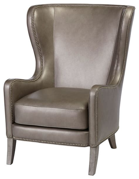 dempsey leather wingback chair gray traditional