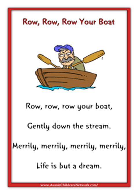 Small Boat Song Lyrics by Row Row Row Your Boat Worksheets