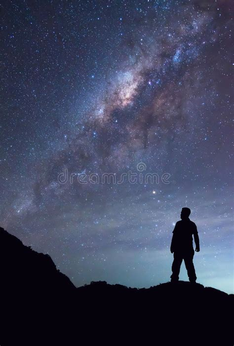 Person Standing Seeing Milky Way Galaxy Night