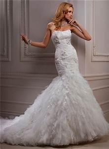 fitted mermaid strapless beaded lace tulle wedding dress With strapless fitted wedding dresses