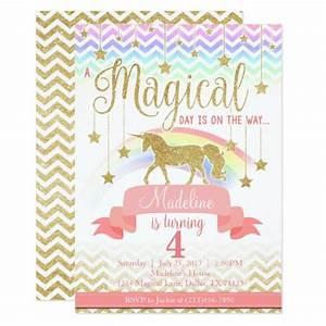 Magical Rainbow Unicorn Birthday Party Invitation Zazzle