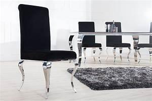 Moderne Barock Möbel : monumentaler stuhl modern barock schwarz stuhlbeine aus edelstahl mit negro samt riess ~ Sanjose-hotels-ca.com Haus und Dekorationen