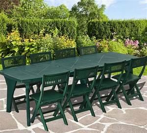 Salon De Jardin 8 Personnes : salon de jardin en pvc vert 8 personnes ensemble table et chaises trigano store ~ Teatrodelosmanantiales.com Idées de Décoration
