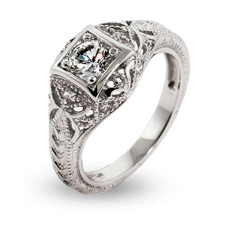 engagement rings deco style vintage deco style cz engagement ring s addiction 174