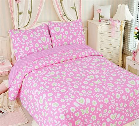 Cotton Coverlets by Pink Floral 100 Cotton Quilt Set Bedspread