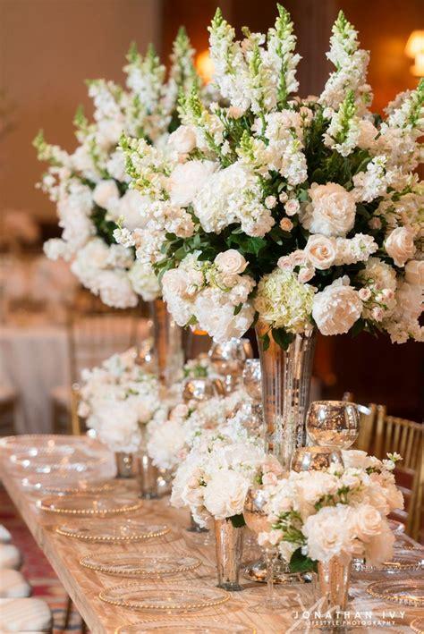 large floral arrangements  white stock peonies