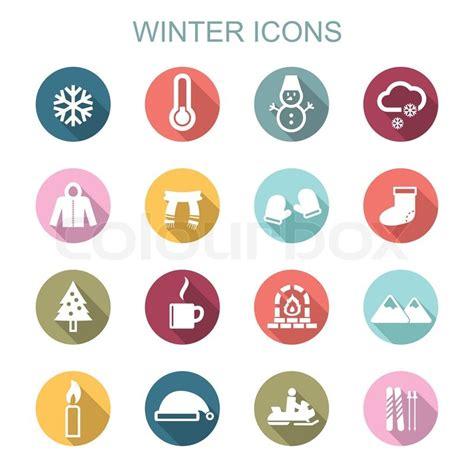 Winter long shadow icons, flat vector symbols   Stock Vector   Colourbox