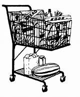 Shopping Clipart Clip Cart Grocery Cliparts Basket Stores Groceries Library Vector Regarding Cat sketch template