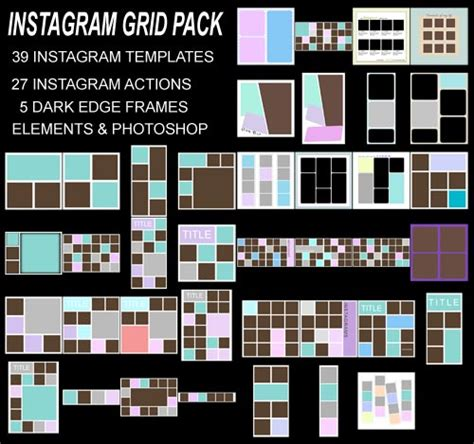 instagram grid template instagram photoshop phto templates edges element and photoshop kits