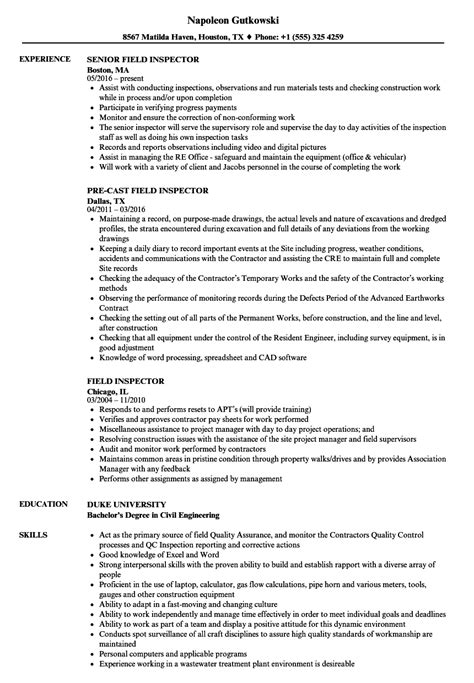 field inspector resume samples velvet jobs