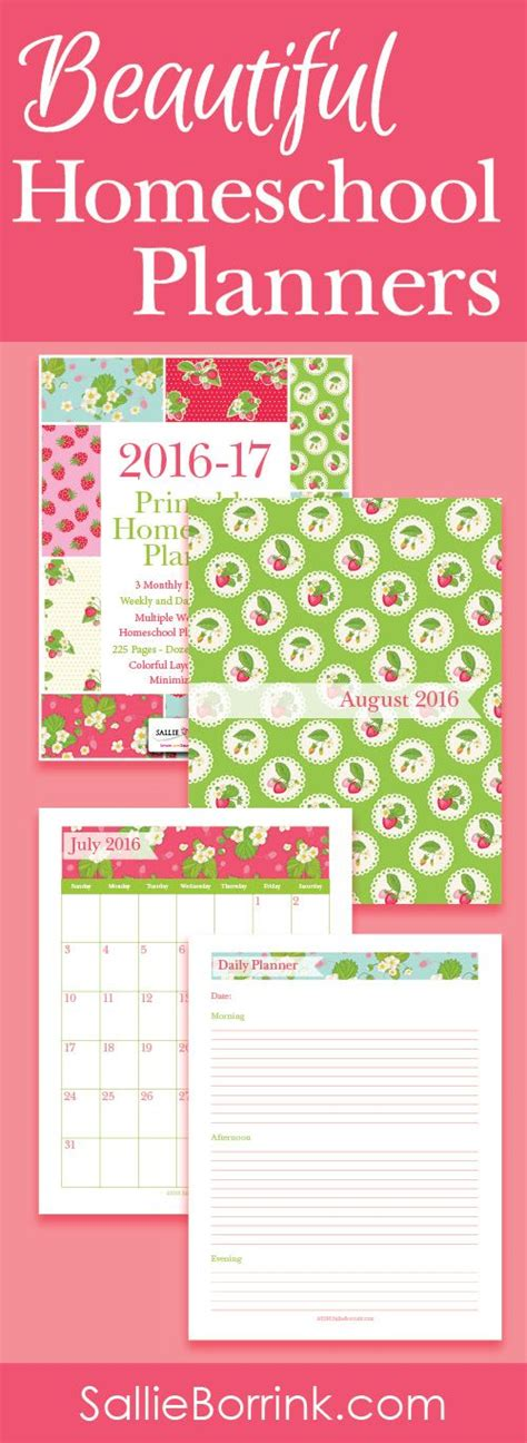 editable homeschool planner academic year strawberries