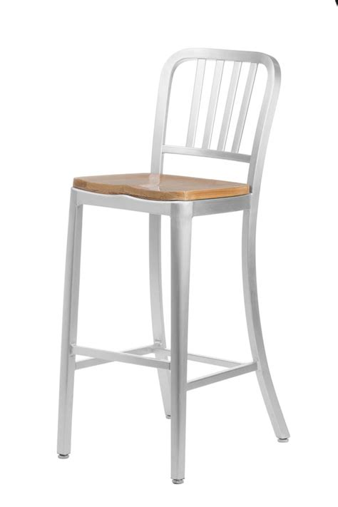 aluminum navy style restaurant counter stool with