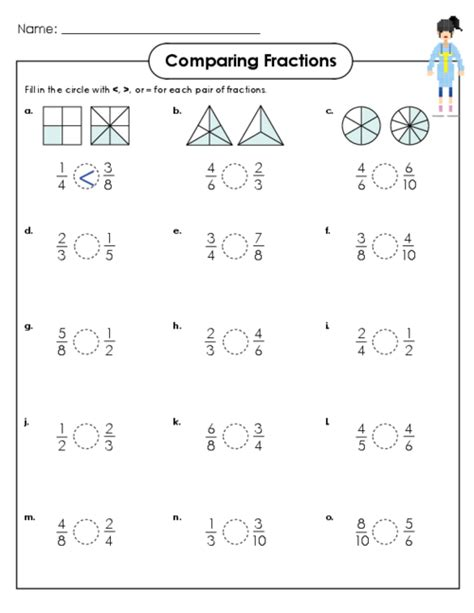 5th grade math worksheets comparing fractions comparing fractions activity 4th grade fraction