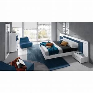 Chambre a coucher design blanche et bleu 6 elements cbc for Chambre blanche et bleu