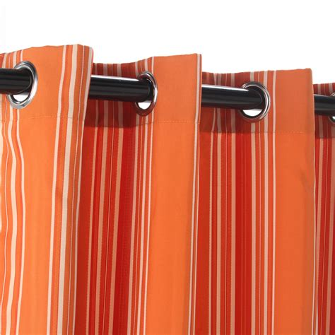 orange striped curtains shop stripe orange polyester grommeted outdoor curtain 50