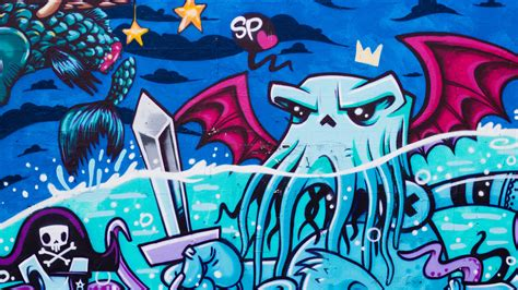 Download Wallpaper 2560x1440 Graffiti, Octopus, Street Art