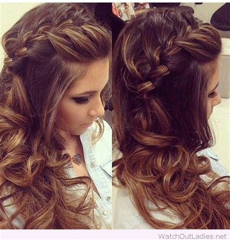 hair curled to the side styles side braided hair with curls hair styling