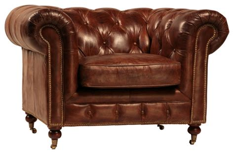 curved back tufted brown leather club chair traditional