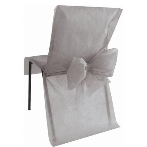 housse de chaise en papier housse de chaise intissé gris avec noeud les 4 housses de