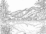 Scenery Mountain Scene Drawing Coloring Printable Colouring Winter Adults Getdrawings sketch template