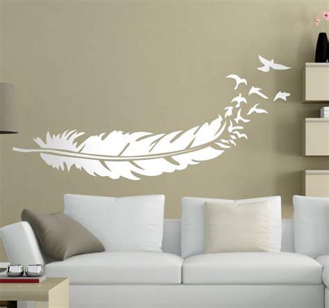 chambre couleur taupe et gris sticker plume oiseaux tenstickers