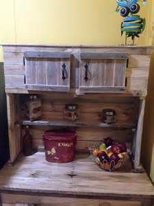 How To Paint Cabinets To Look Distressed by Kitchen Hutch Made From Pallets