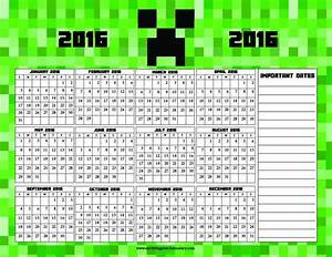 Minecraft Printable Calendar At A Glance 2016