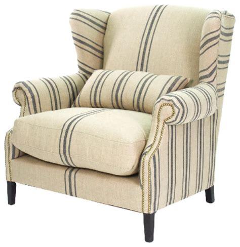 napoleon fog linen wingback armchair blue stripe