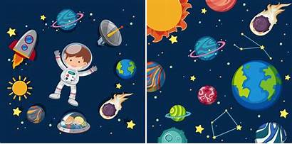 Space Planets Astronaut Vector Scenes Clipart System