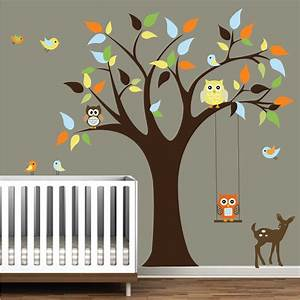 nursery wall decals tree stickers with animals owls wall decal With tree wall decals for nursery