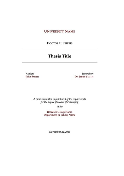 Thesis Template Templates 187 Theses