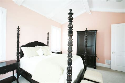 Mellow Coral Walls in the Master Bedroom - Interiors By Color