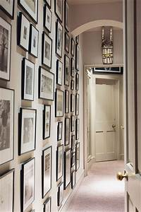 Photo wall in small space hallway ideas decorating