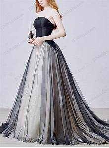 is054 cheap black tulle wedding dress with notch neckline With cheap black wedding dresses
