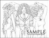 Maiden Crone Mother Colouring sketch template