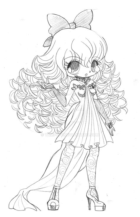 curly haired chibi commission sketch  yampuff