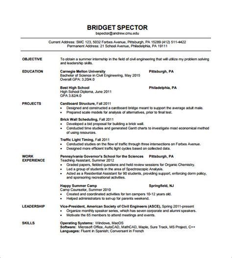 Resume Format For Freshers Civil Engineers Pdf 16 civil engineer resume templates free sles psd