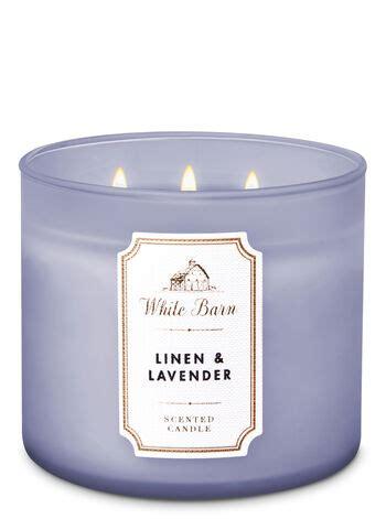 linen lavender  wick candle white barn bath body