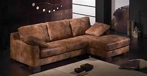 canape d39angle cuir marron vieilli canape idees de With canapé cuir marron vieilli
